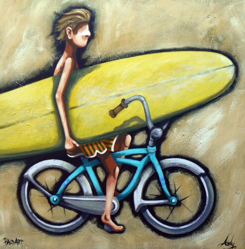 FUNKY WALL ART BEACH SURF BIKE PAINTING  PRINT 2000s, Abstract, Australia