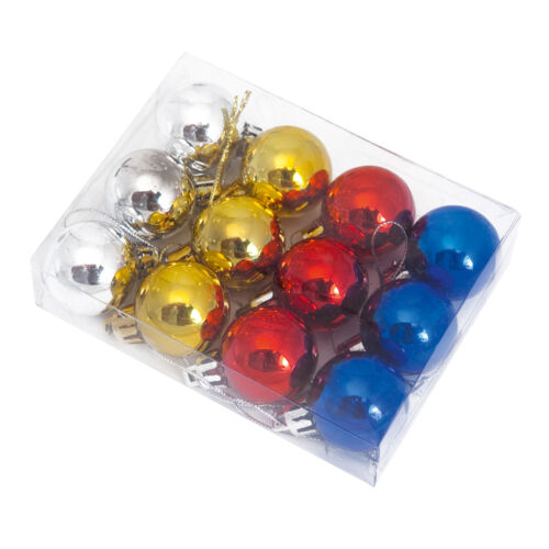 Pack 12 Mixed Colours Shiny Mini Christmas Tree Baubles Hanging Hang Decorations