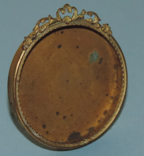 Antique Victorian Miniature 2&quot; Round Bronze Picture Frame Easel Back French Type<br/>Picture Frames - 40024