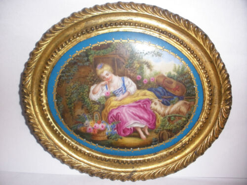 Antique Sevres hand painted victorian woman w/ sheep in garden porcelain plaque <br/>Other Antique Ceramics - 2203