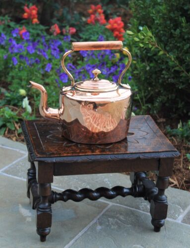 Antique English Copper &amp; Brass Tea Kettle Teapot Coffee Pot Water Kettle SMALL<br/>Metalware - 1211