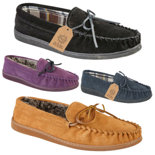 New Boxed Mens Gents Real Suede Slip On Moccasin Tartan Slippers Loafer UK 7-12