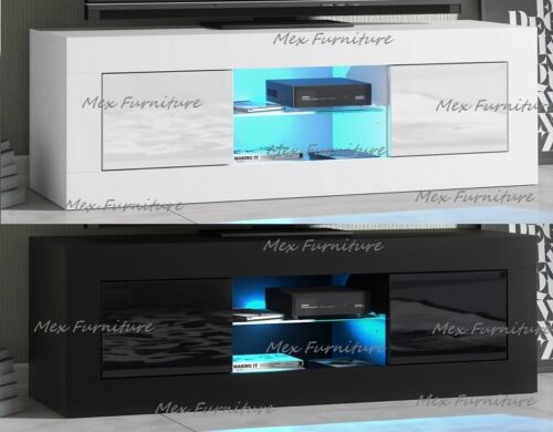 Modern TV Unit Cabinet Stand Sideboard Matt body and High Gloss Doors LED Light <br/> FAST&amp;FREE Shipping