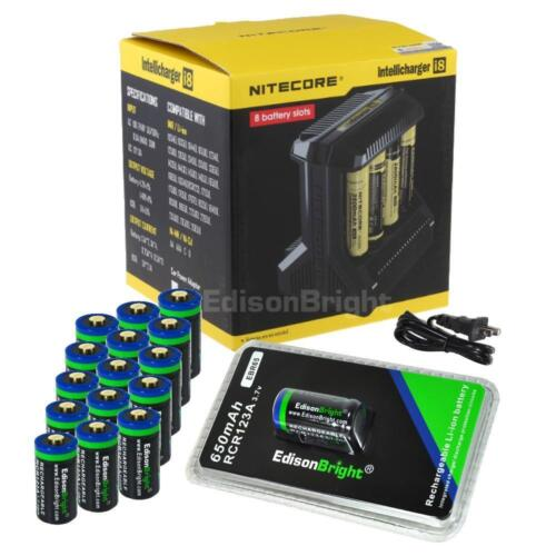 Nitecore i8 battery charger w/ 16 X RCR123A 16340 batteries for arlo cameras