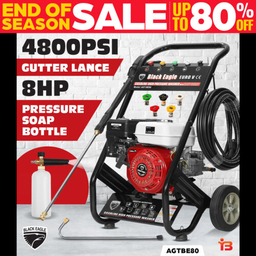 NEW Black Eagle 8.0HP High Pressure Washer 4100PSI Petrol Water Gurney Cleaner <br/> Powerful 8HP 4100PSI 5 Nozzles + Turbo head + 20M Hose
