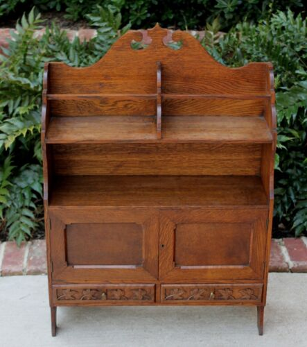 Antique English Oak Arts & Crafts Wall Cabinet Shelf Bookcase with Drawers LARGE