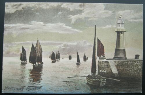 Mevagissey England Harbour & Lighthouse Antique Postcard F. Frith