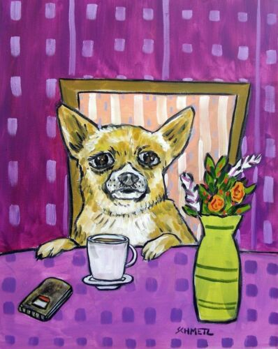 Chihuahua at the cafe coffee shop signed dog art print artwork gift 8x10