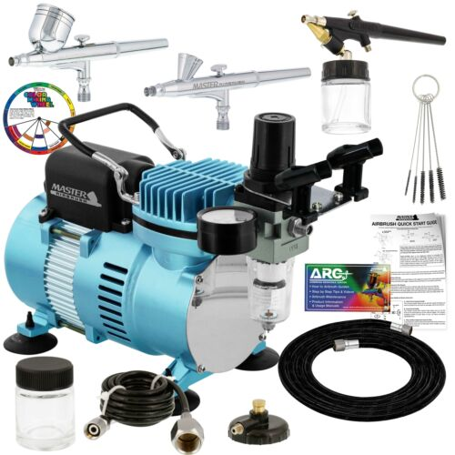 3 Master Airbrush Pro Air Compressor Kit, Hobby, Auto, Cake, Tattoo Art Paint <br/> Masters Top Selling User Friendly, Versatile Airbrushes