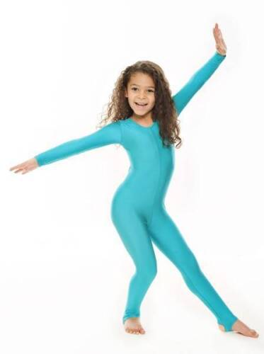 Childrens Girls Shiny Lycra Dance Gymnastics Long Sleeve Unitard Catsuit KDC012 <br/> All Colours And Sizes Available. Handmade In The UK