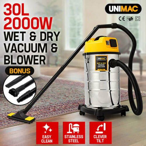 NEW UNIMAC 30L Wet and Dry Vacuum Cleaner Blower Bagless 2000W Drywall Vac <br/> Powerful suction with complete set of accessories