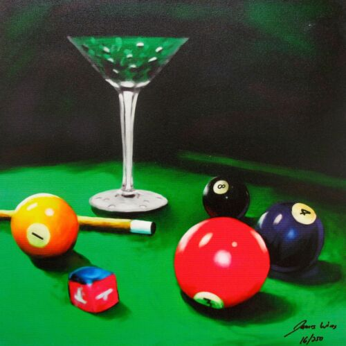 JAMES WING Hand Signed Giclee on Canvas APPLE MARTINI BILLIARDS POOL TABLE BALLS