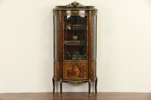 French 1920 Curved Glass Vitrine Curio Display Cabinet, Brass Mounts, Paintings<br/>1900-1950 - 63564