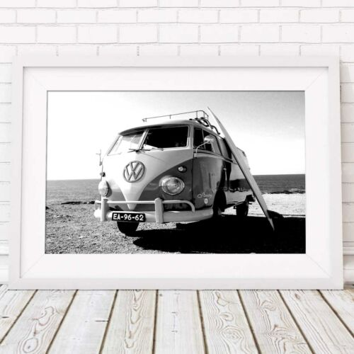 VW COMBI VAN - Beach Vintage Picture Poster Print Sizes A5 to A0 **FREE DELIVERY