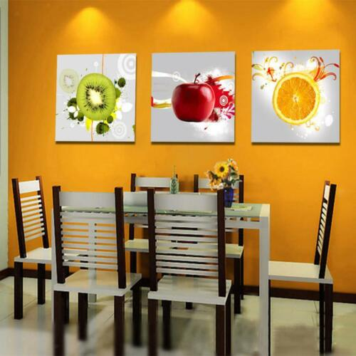 3pcs/set Canvas Kitchen Wall Hanging Art Painting Picture Fruits Print Decor