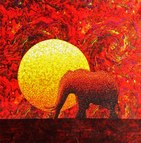 'Elephant' – expressionist painting on mixed media, by Cliff Howard