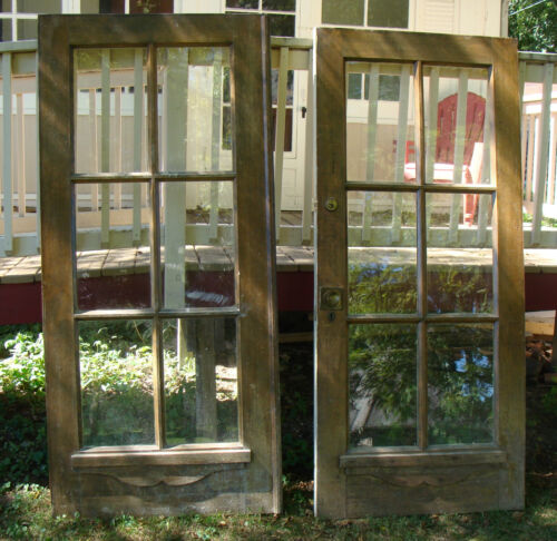 2 ~ Antique Architectural Salvage Reclaimed 80x36 Solid Oak French Doors 6 pane<br/>Doors - 37910