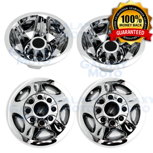 08-10 Chevy Silverado DUALLY Chrome 17&quot; Wheel Simulator Liner+Center Caps Cover <br/> 100% Perfect Fit+Best Quality+Made in Taiwan+Fast Ship