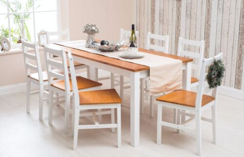 Solid Pine Wood Dining Set Table and Chairs Dining Room Furniture White/Honey <br/> Best deal , do not miss out