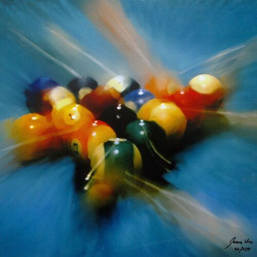 """JAMES WING Hand Signed Giclee on Canvas """"8 BALL"""" BILLIARDS POOL TABLE BALLS"""