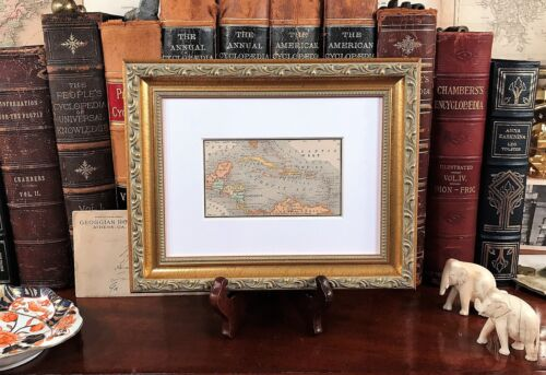 Framed Original 1886 Antique Map WEST INDIES Florida Key West Caribbean Jamaica