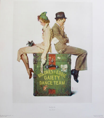 "NORMAN ROCKWELL ""GAIETY DANCE TEAM"" 1975 Plate Signed Collotype Art"