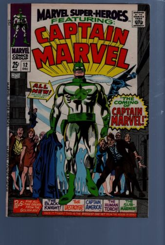 MARVEL SUPER HEROES  12  KEY ISSUE 1ST CAPTAIN MARVEL SILVER AGE MARVEL COMICS