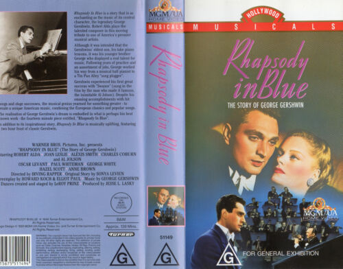 RHAPSODY IN BLUE - The Story of George Gershwin - VHS -PAL -New & Sealed -Rare!!