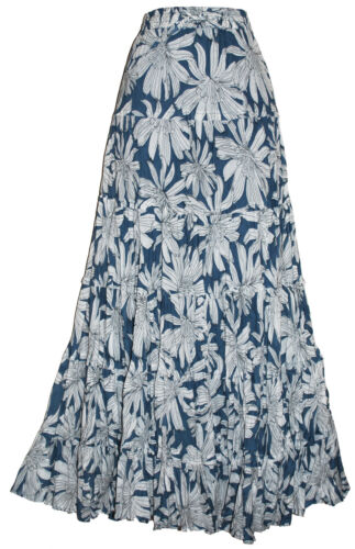 MASSIVE RANGE OF LADIES LONG CRINKLE COTTON TIERED HIPPY BOHO GYPSY MAXI SKIRTS