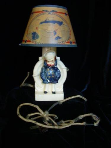 Antique Lamp of Sailor Boy with Matching Shade, Small, Needs Rewiring, WWII<br/>Lamps - 63547