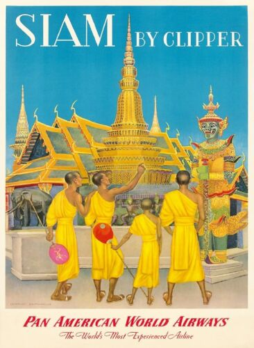 Siam Thailand Thai Siamese Clipper Asia Asian Travel Advertisement Art Poster