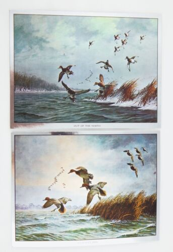 Vintage David Maass Out of the North and Journey's End Foil Etch Two Print Set