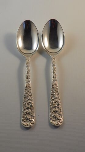 "2 Teaspoons.  Stieff Sterling Silver Repousse.  5-7/8"" Heavy"