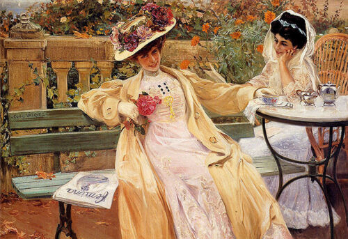 """Oil painting carlos vasquez y obeda - a day in the park two nice young girls 36"""""""