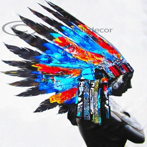 "39"" x 39""  PRINT INDIAN FEATHER NATIVE AMERICAN street art painting large canvas"