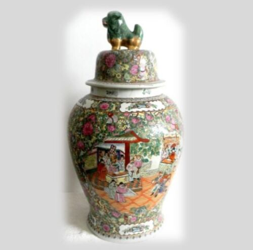 Guangxu Chinese rose medallion LARGE urn with lid - Ca 1900 - FREE SHIPPING<br/>Vases - 37933