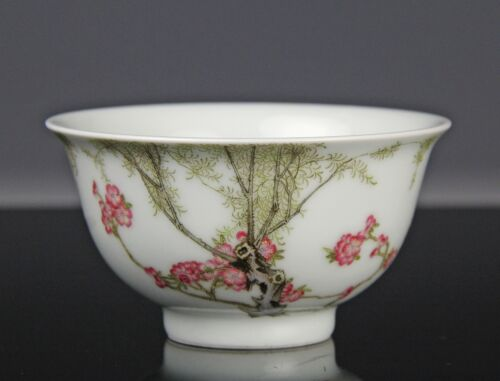 CHINESE PORCELAIN BOWL WITH PAINTED BLOSSOMS AND WRITING <br/> No Reserve Auction of Fine Asian Antiques