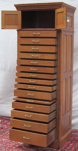 14 DRAWER OAK RAISED PANELED LOCKSIDE JEWELERS CABINET-THE ABSOLUTE FINEST!!!