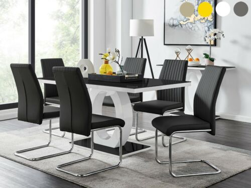 GIOVANI Black White High Gloss Glass Dining Table Set and 6 Leather Chairs Seats <br/> GREAT PRICE - FAST DELIVERY - FANTASTIC QUALITY