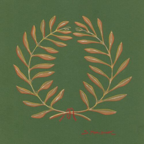 """Milionis """"WREATH"""" Signed Tempera & Pencil Painting on Green Mount Board 2000"""