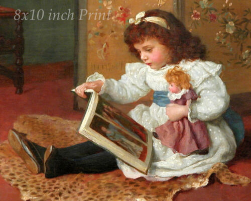 Story Time by Charles Haigh Wood - Girl Read Doll Book  8x10 Print Picture 1717