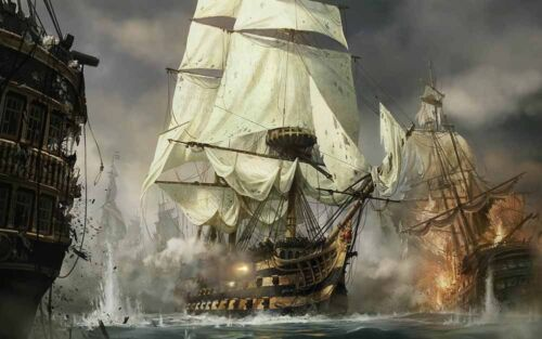Modern Home Artwork Wall Decor Pirate ship Oil Painting Printed on canvas