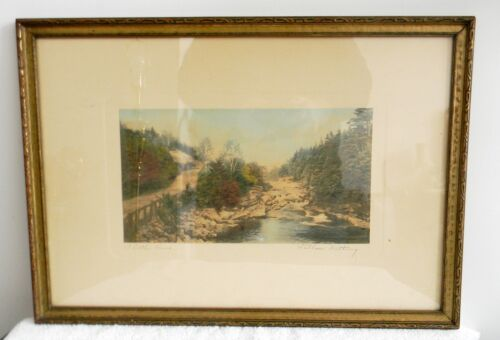 Wallace Nutting vintage hand colored photograph - A Little River