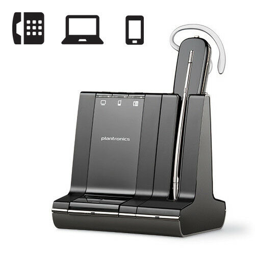 PLANTRONICS SAVI W740-M 3-IN-1 WIRELESS DECT HEADSET SYSTEM UC PC PHONE MOBILE