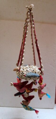 Vintage Decorative Cloth,Seashell Hand Worked Kid Swing Toy Folk Art Must See