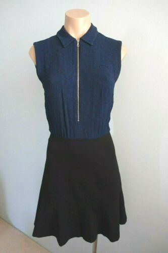 Sandro Paris Sleeveless Open Back Textured Top Black & Navy Collared Dress sz 1