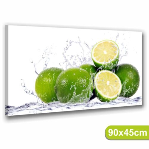 Lime QUADRI MODERNI 90x45  STAMPE TELA ARRED0 CUCINA BAR FRUTTA LIMONI COCKTAIL