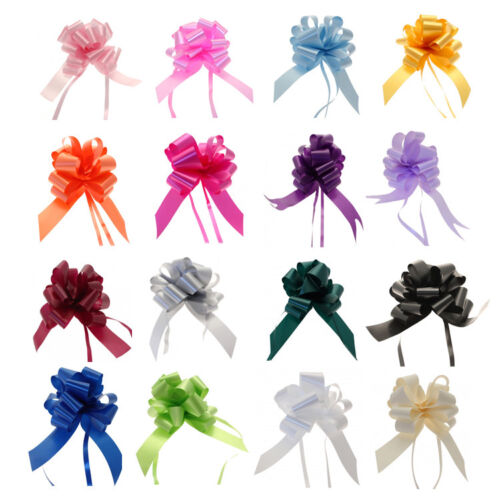50mm LARGE PULL BOWS Quality Wedding Car Gift Wrap Pew Party Poly Floristry Bow