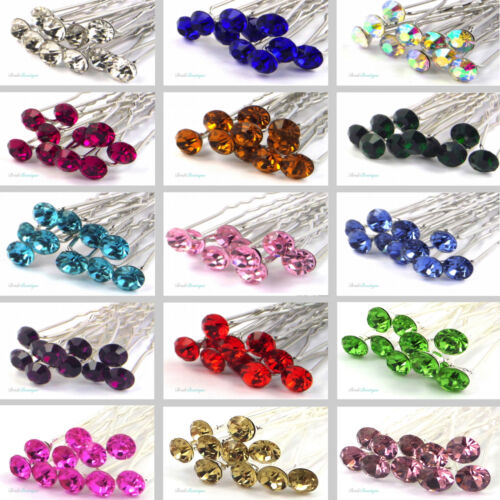 Bridal Wedding Prom Silver Crystal Diamante Rhinestone Hair Pins Clips Grips <br/> UK SAME DAY DESPATCH / 15 COLOURS TO CHOOSE FROM