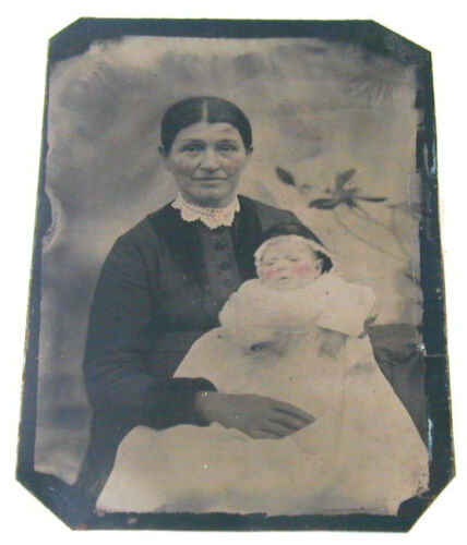 Mother & Baby Tintype Tinted Cheeks 3/5 by 5 Inches